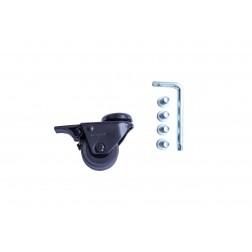 Rollen mit Rückenloch und Feststeller 50 mm Thermoplastisches Gummi (4x)